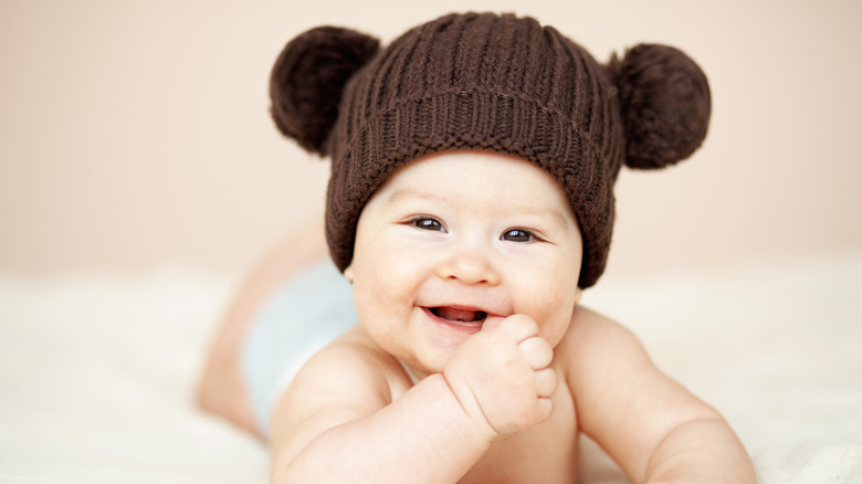 baby in knit hat with ears
