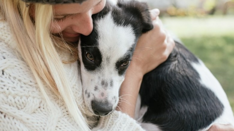 woman with rescue dog