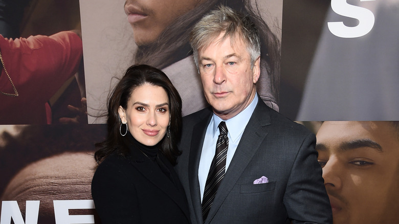 Alec Baldwin, Hilaria Baldwin posing at event