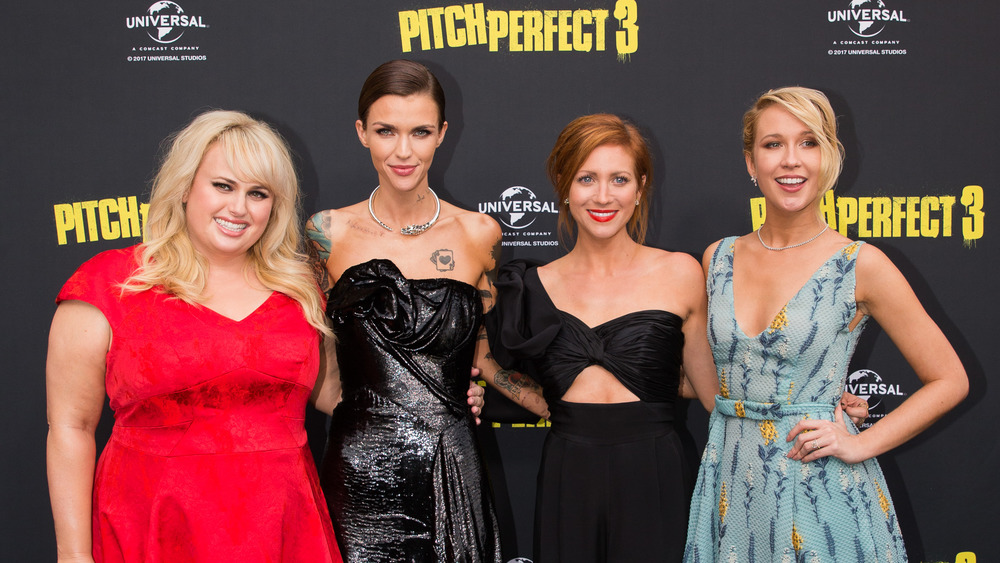 Rebel Wilson, Ruby Rose, Brittany Snow and Anna Camp at the premiere of Pitch Perfect 3