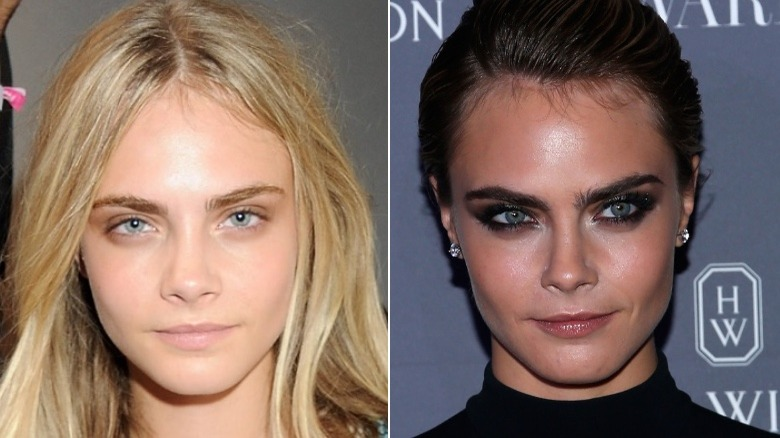 Cara Delevingne eyebrows before and after