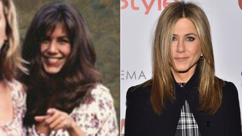 Jennifer Aniston before and after natural hair