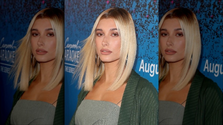 middle-part haircut for 2020, as seen on Hailey Baldwin