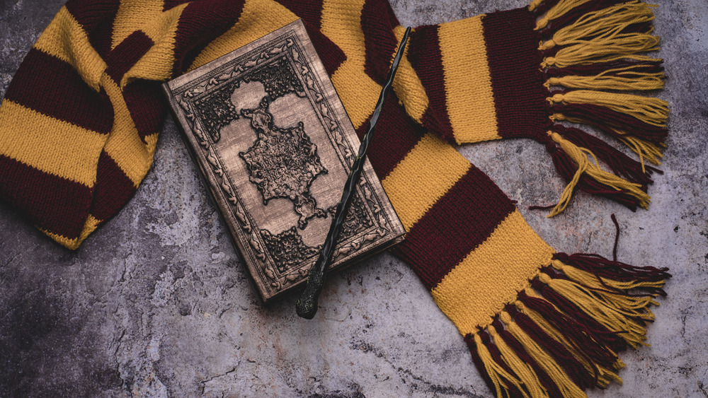 A Gryffindor scarf, wand, and spellbook