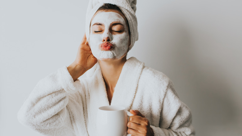 Woman in homemade face mask