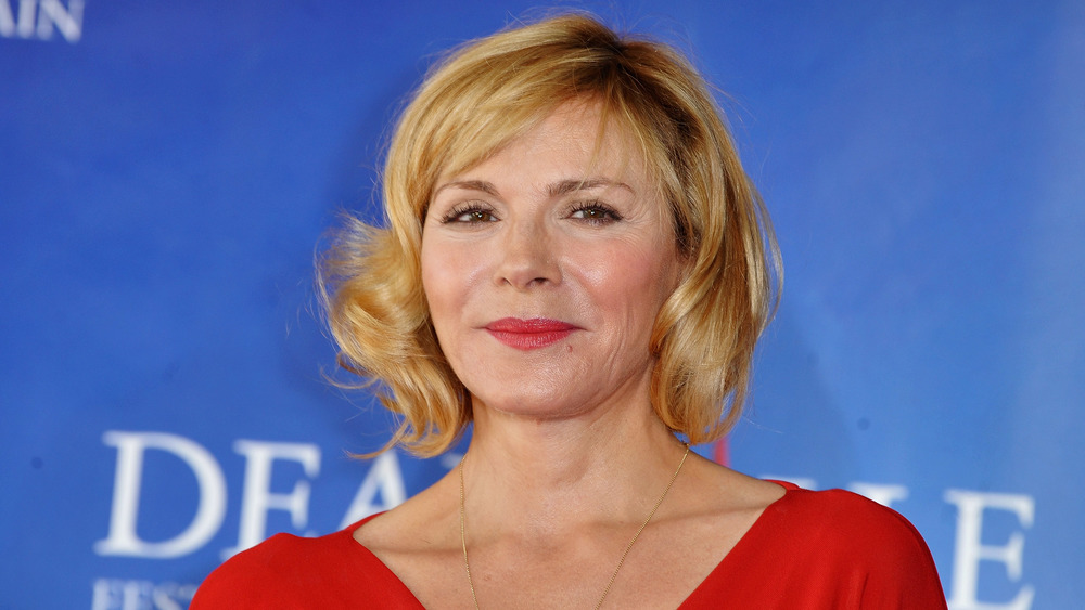 Kim Cattrall poses at an event