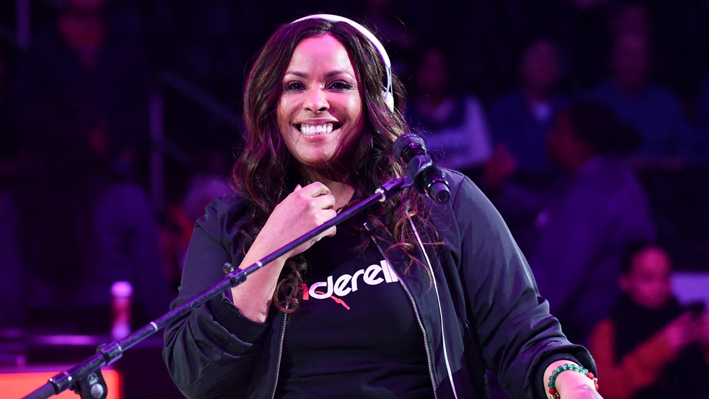 DJ Spinderella at her turntables