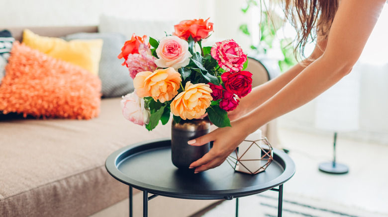 Adding flowers to your coffee table