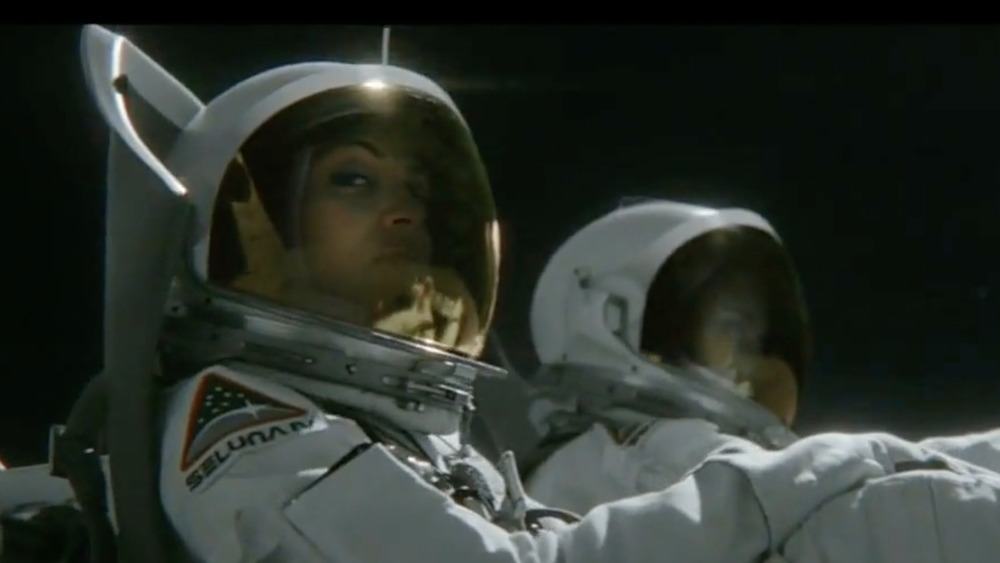 Woman in spacesuit from the Allstate moon commercial