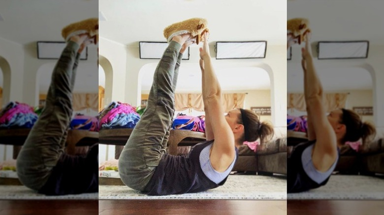 Danielle Busby working out at home