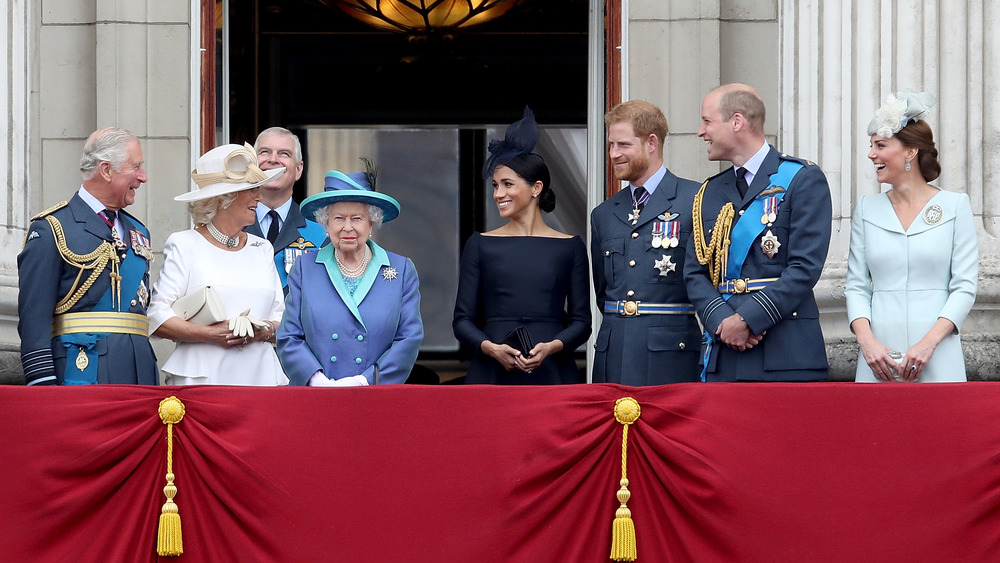 The Royal Family on a terrace