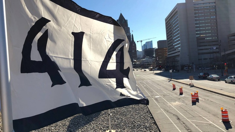 414 Flag flying in downtown Milwaukee on April 14, 2019
