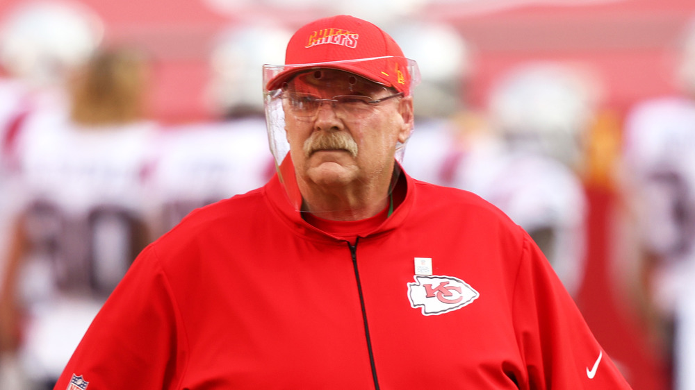 Coach Andy Reid at a football game