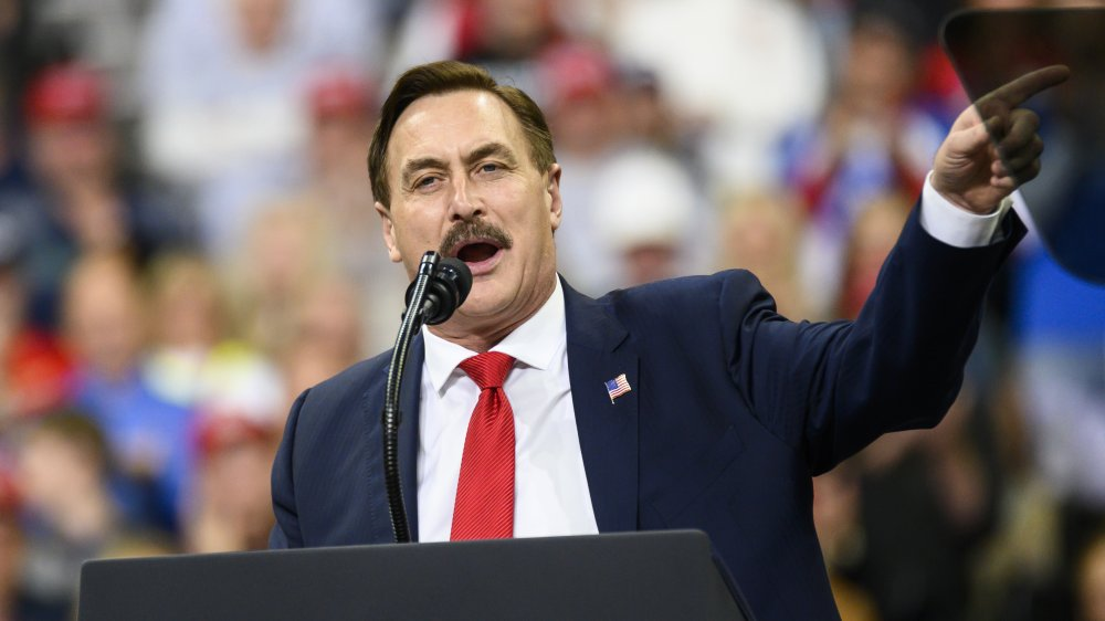 Mike Lindell, the MyPillow guy speaking at podium