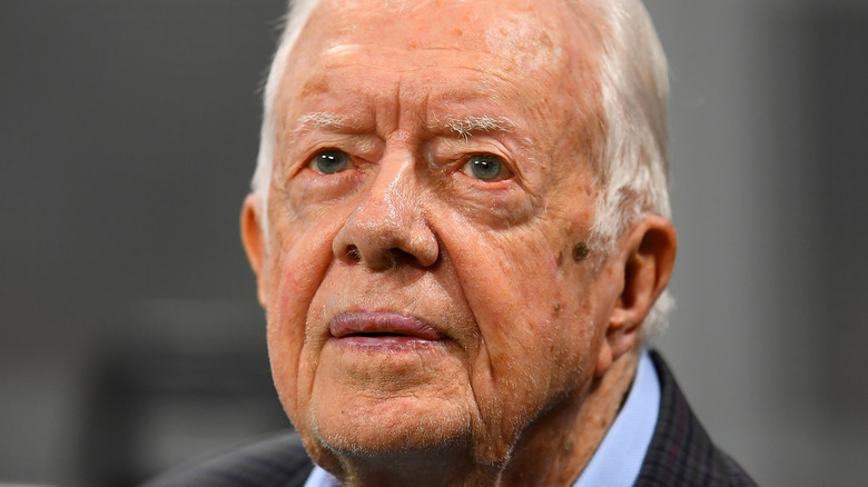 Jimmy Carter staring up