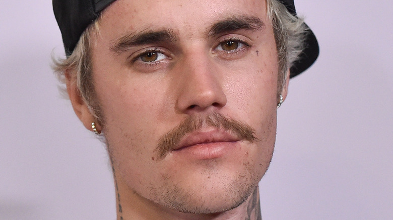 close up of Justin Bieber's face