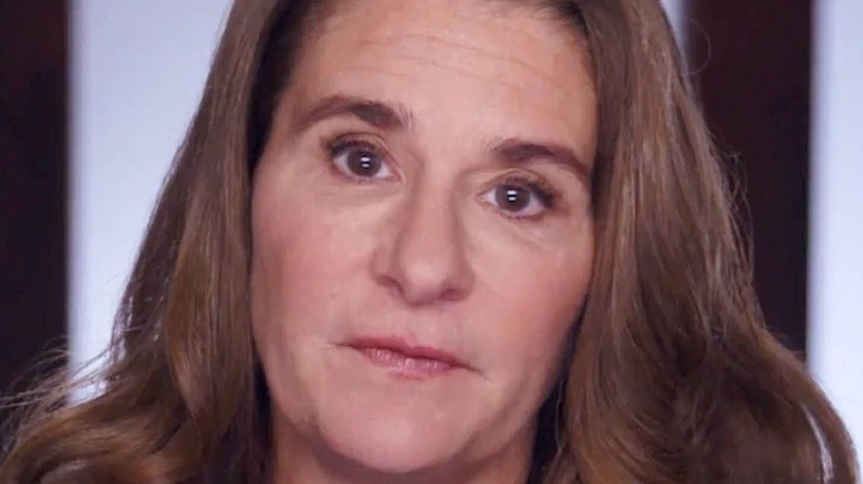 Melinda Gates looking serious hair down
