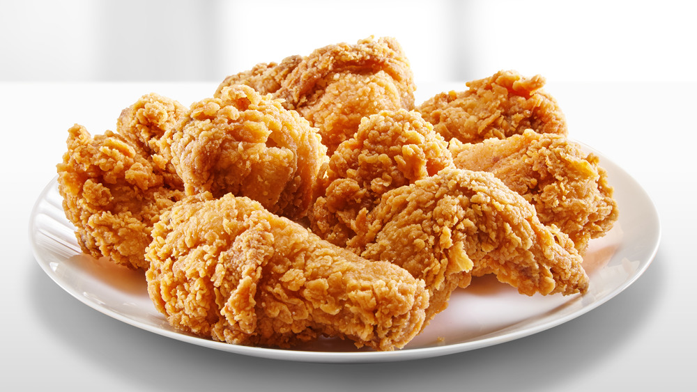 Fried chicken on white plate