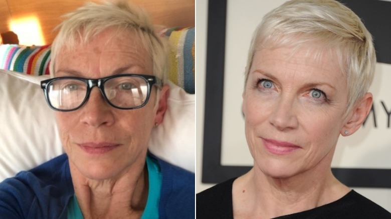 Annie Lennox without and with makeup