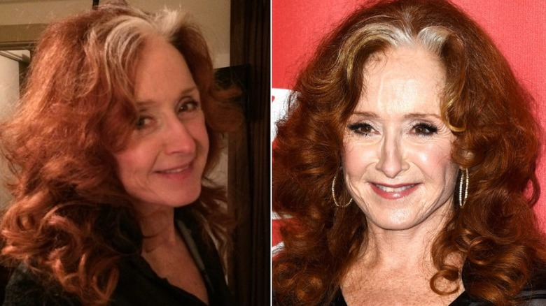 Bonnie Raitt without and with makeup