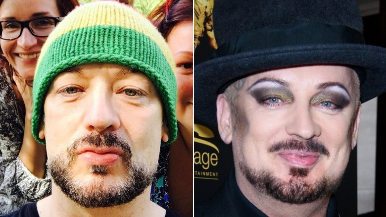 Boy George without and with makeup
