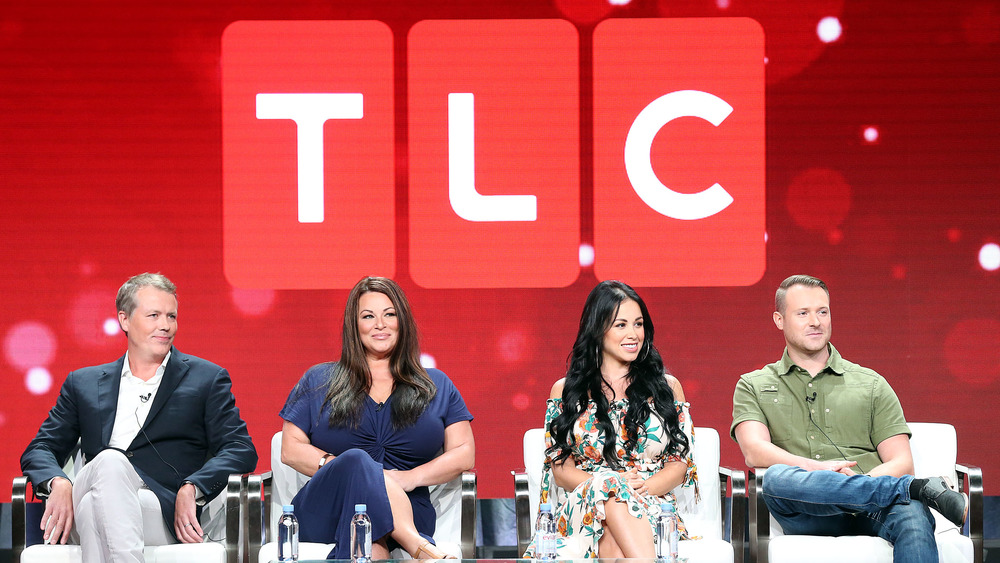 TLC logo with cast members of 90-Day Fiancé