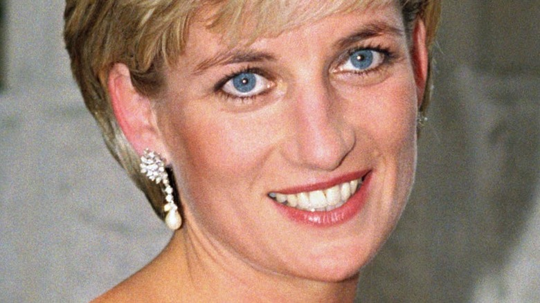 Princess Diana smiling for cameras