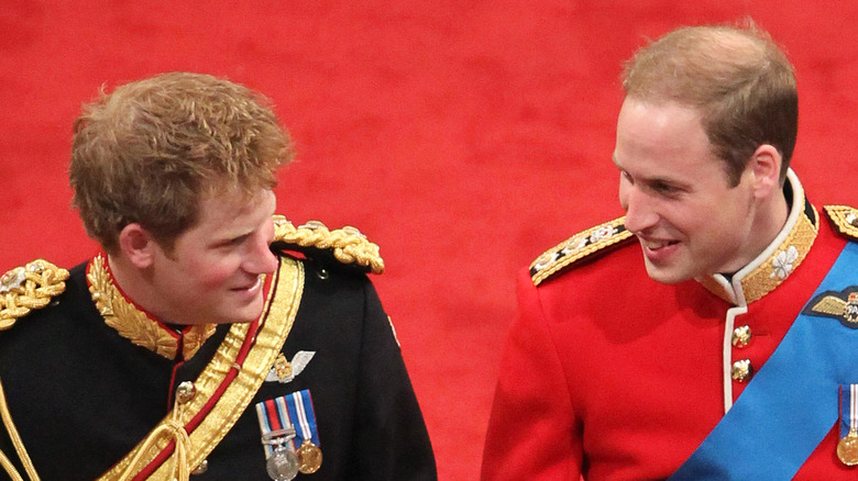 Prince William and Prince Harry on the wedding day
