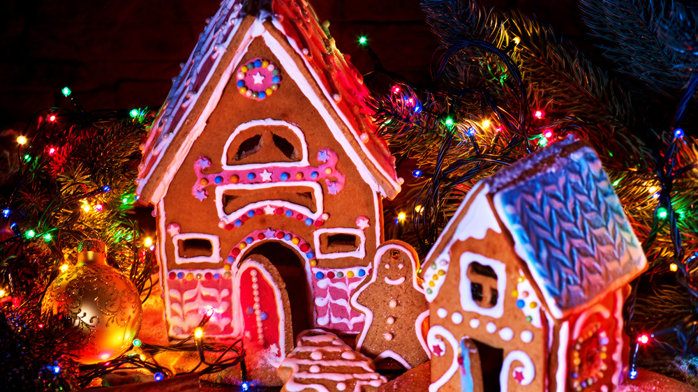 Gingerbread house with christmas lights