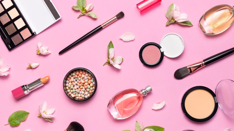 Makeup on pink background