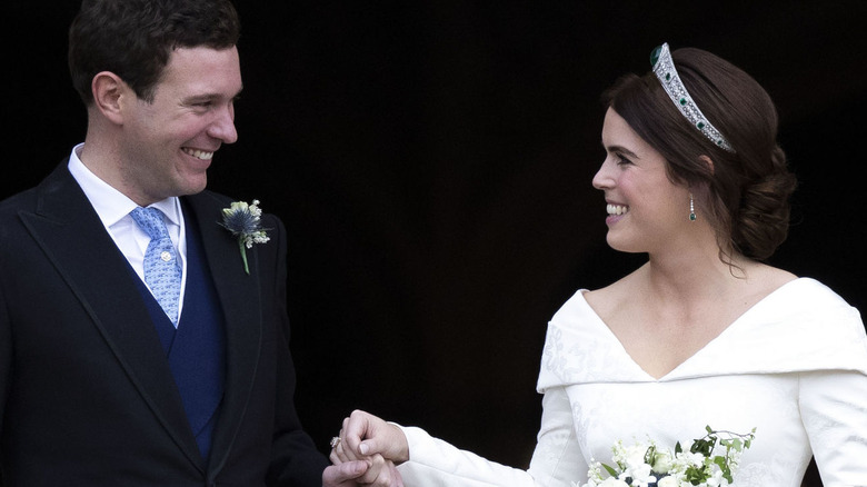 a79ec8156ce Jack Brooksbank and Princess Eugenie at their wedding