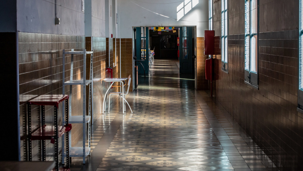 Corridor of a closed school