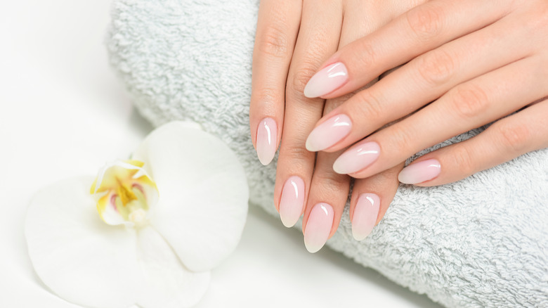 Woman with her nails done
