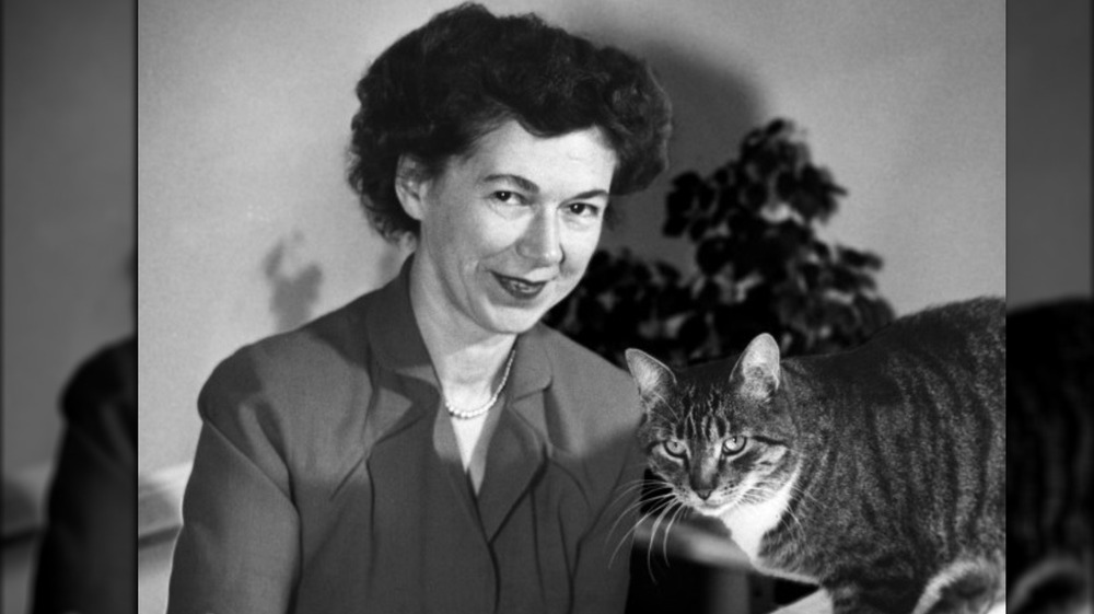 Beverly Cleary with her cat