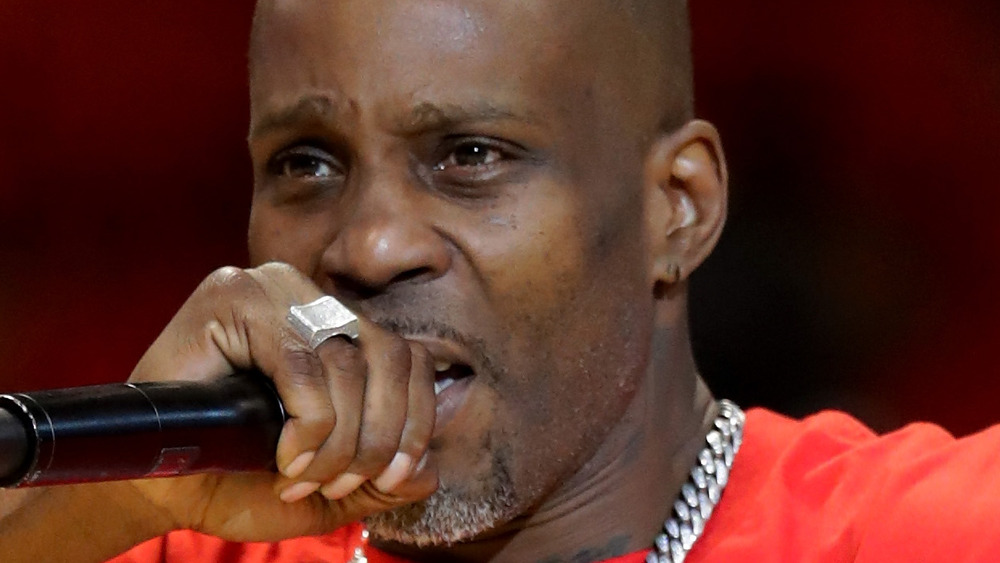 DMX sings at a sporting event