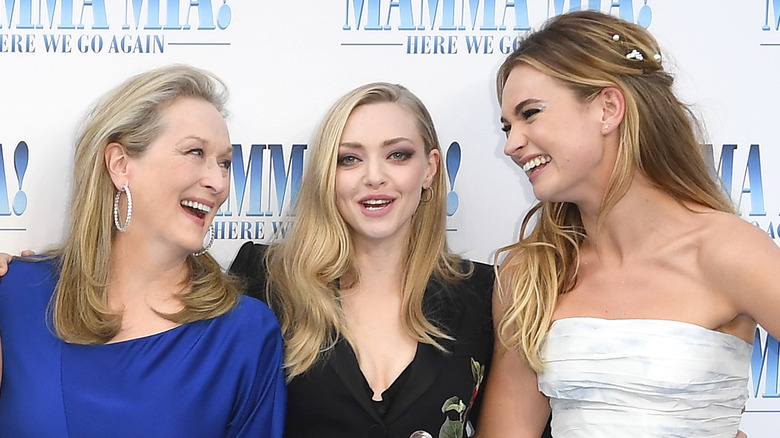 Meryl Streep, Amanda Seyfried, and Lily James at the Mamma Mia: Here We Go Again premiere