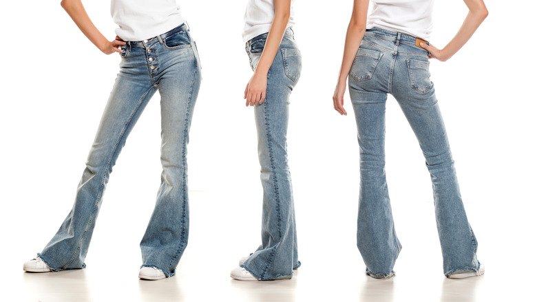 Bell-bottom jeans from different angles