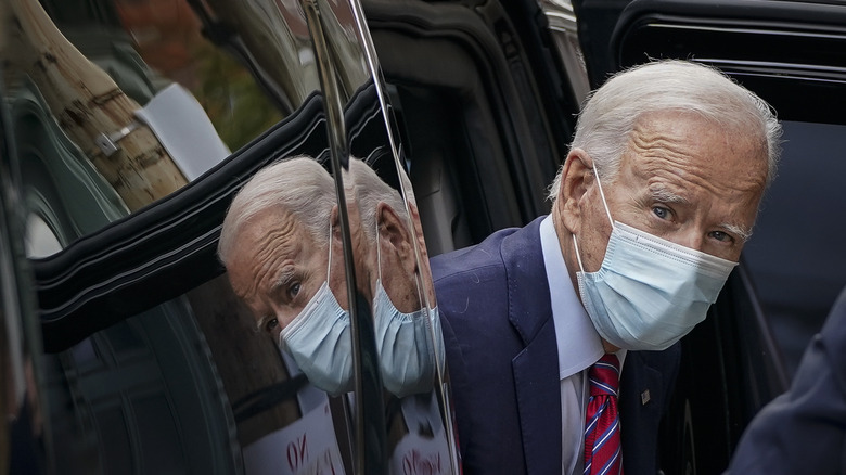 Joe Biden leaving a car