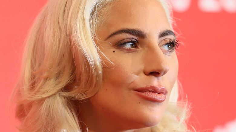 Lady Gaga smirking