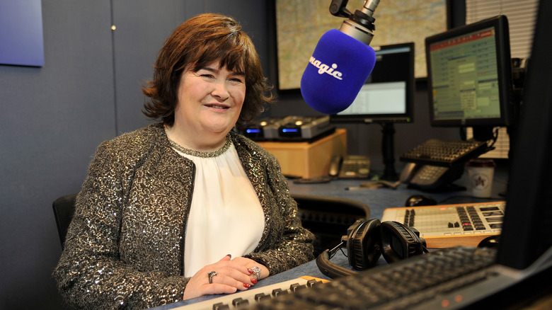 Susan Boyle at a microphone