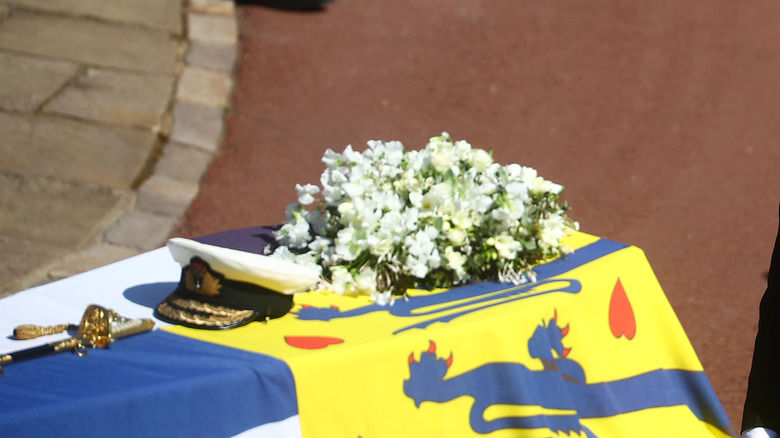 Prince Philip's coffin, flowers, cap and sword