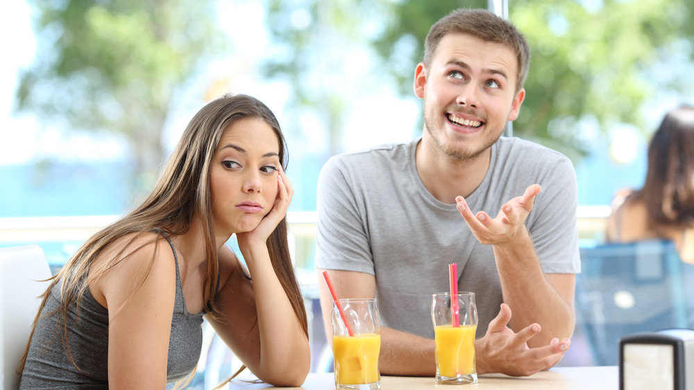 Woman annoyed by her partner