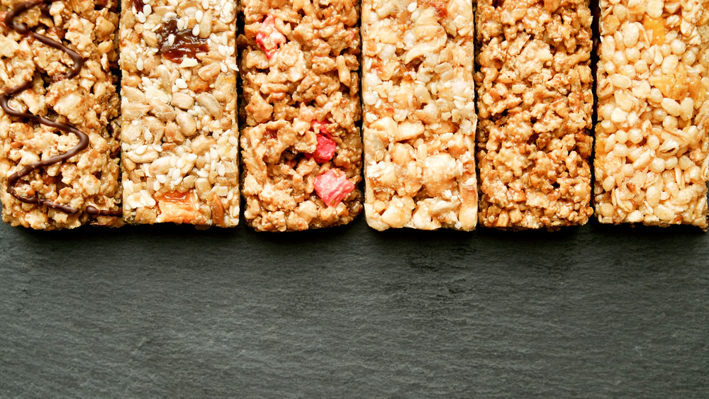 A row of granola bars lined up