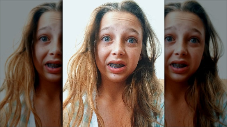 young Emma Chamberlain with braces