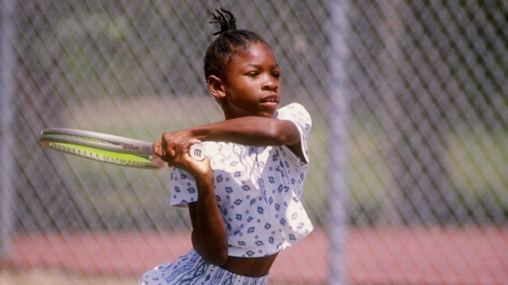 Serena Williams playing tennis in 1992
