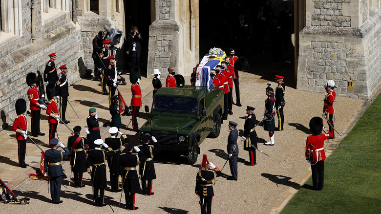 Arial shot Prince Philip's funeral