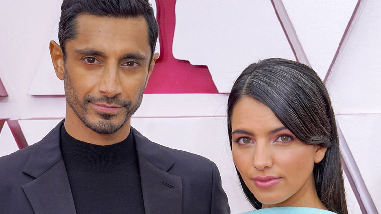 Riz Ahmed and wife Oscars red carpet.