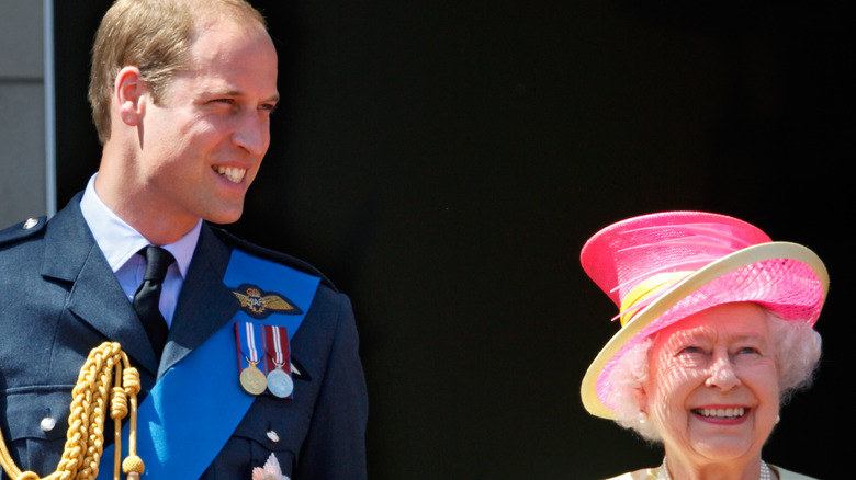 Prince William and the Queen at Buckingham Palace
