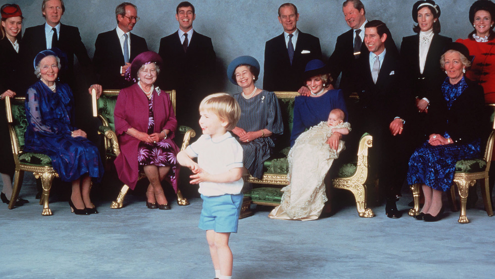 The royals gather together for a portrait to celebrate Prince Harry's baptism