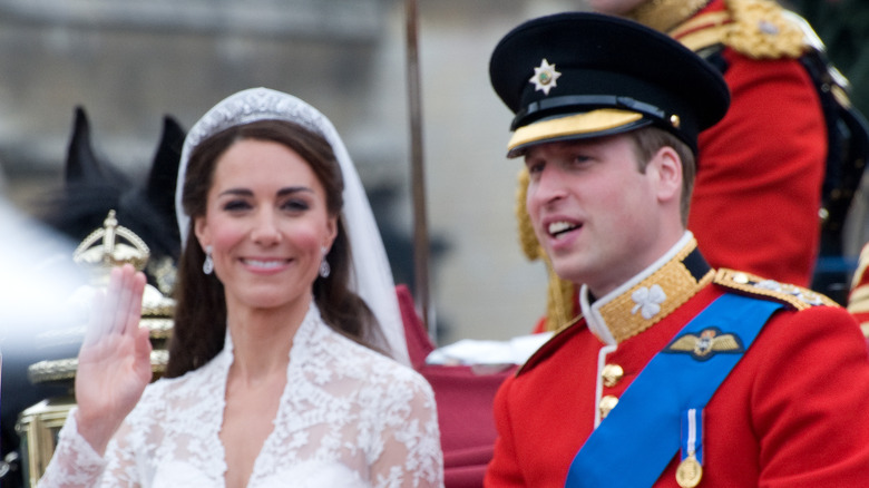 Prince William and Kate Middleton smiling on their wedding day